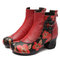 Splicing Leather Pattern Frog Closures Vintage Short Boots - Red