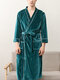 Mens Velour Contrast Binding Double Pocket Soft Robe With Belt - Green
