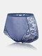 Tallas grandes Mujer Bragas de cintura alta transpirables de jacquard floral de encaje transparente - azul