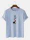 メンズ100%コットン無地漫画宇宙飛行士プリントルーズシンTシャツ - 青