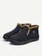 Women Casual Stitching Waterproof Cloth Warm Comfortable Flat Ankle Cotton Boots - Black