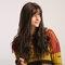 26 Inch Brown Wavy Long Curly Hair Bangs  Wig Synthetic Hair with Bangs Natural Fluffy Long Wavy Hai - 26 Inch