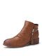 Plus Size Women Casual Solid Color Side Zipper Chunky Heel Ankle Boots - Brown