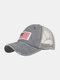 Unisex Washed Distressed Cotton Mesh Patchwork American Flag Pattern Embroidery Broken Hole Baseball Caps - Gray
