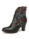 SOCOFY Retro Genuine Leather Flower Embroidery Warm Lining Chunky Heel Short Boots - Black