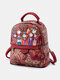 Women Large Capacity Figure Pattern Print Plants Backpack - Red