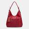 Women Laser Cut Bag Tassel Rivet Tote Bag - Red
