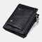 Men Genuine Leather RFID Removable Photo Case Coin Purse 13 Card Case Wallet - Black