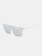 Unisex PC Full Square Frame One-piece Goggles UV Protection Oversized Fashion Sunglasses - White