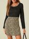 Leopard Patchwork Long Sleeve O-neck Print Dress For Women - Black