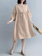 Fungus Solid Color O-neck Button 3/4 Length Sleeve Loose Dress - Apricot