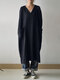 Casual Solid Color V-neck Pockets Long Sleeve Cotton Dress - Navy