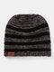 Women Wool Stripe Pattern Keep Warm Empty Top Ear Protection Knitted Hat - Black