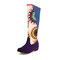 Plus Size Women Folkways Sunflowers Pattern Casual Splicing Zipper Knee Boots - Purple