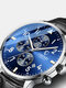 Business Full Steel Men Quartz Wristwatch Waterproof Date Clock Men Watch - Blue Dial Black Leather Band