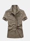 Loose Military Style Cotton Chest Pockets Epaulets Work Shirts for Men - Gray