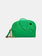 Women Genuine Leather Casual Cute Animal Elephant Pattern Keychain Coin Bag Storage Bag - Green