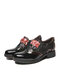 SOCOFY Retro Serpentine Stitching Comfy Round Toe Leather Wearable Slip On Block Heel Casual Shoes Elegant Loafers - Black