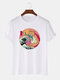 Mens 100% Cotton Funny Cat & Wave Pattern Japanese Style Short Sleeve T-Shirt - White