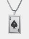 Trendy Poke Playing Card Stainless Steel Alloy Necklace Pandent - Silver