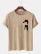 Mens Cartoon Cat Chest Print Cotton Casual Short Sleeve T-Shirts - Khaki
