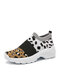 Women Casual Leopard  Knitted Breathable Wearable Walking Shoes - Black