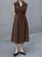 Solid Lapel Sleeveless Button Pocket Casual Shirt Dress with Belt - Coffee