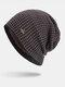 पुरुषों की शीतकालीन Plus मखमली प्लेड पैटर्न आउटडोर लंबी बुना हुआ गर्म बेनी टोपी - कॉफ़ी