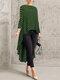 Print Polka Dot High Low Long Sleeve Plus Size Blouse - Green