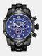 Large Dial Men Business Watch Multifunctional Luminous Calendar Waterproof Quartz Watch - Blue Dial Black Band