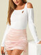 Solid Color Off Shoulder Long Sleeve Casual Blouse For Women - White