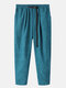 Mens Corduroy Solid Color Loose Pants With Push Buckle - Lake Blue
