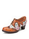 SOCOFY Retro Hand Stitching Printed Cowhide Leather Comfy Wearable Lace Up Casual Pumps - Brown