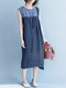 Vintage Patch Sleeveless High Low Dress - Blue