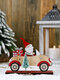 1Pc Christmas Decorations Santa Claus Driving With A Small Tree Ornaments Wooden Standing Desktop Decoration - Brown