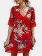 Casual Floral Printed A-line Hollow Out V-neck Short Sleeve Mini Dress - Red