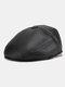 Men Faux Leather Casual Outdoor Warm Solid Color Forward Hat Beret Hat Flat Cap - Black