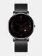 Alloy Steel Business Casual Mesh Belt Calendar Mens Quartz Watch - Black+Black+Red