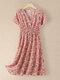Women Floral Print V-neck Elastic Waist Short Sleeve Dress - Pink