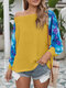 Gradient Print Patchwork O-neck Holiday Plus Size T-shirt - Yellow