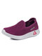 Women Comfy Breathable Knitted Slip Resistant Slip On Flat Shoes - Purple