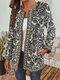 Ethnic Floral Print Patchwork Long Sleeve Vintage Jacket For Women - Blue