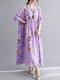Painted Geometry Print Loose 3/4 Length Sleeve O-neck Vintage Dress - Purple