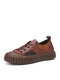 SOCOFY Retro Genuine Leather Patch Skate Sneakers Color Block Soft Walking Shoes For Easter Gifts - Brown