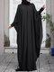 Plus Size Muslim Double Layer Two-piece Chiffon Maxi Dress - Black