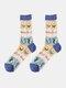 جوارب حريرية حريرية أنيقة بنمط رسوم متحركة فواكه للسيدات - أفوكادو أزرق داكن