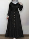 Solid Color Button Pleated Waistband Long Sleeve Casual Muslim Dress - Black