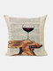 Animal Head Wine Glass Pattern Linen Cushion Cover Home Sofa Art Decor Throw Pillowcase - #16