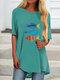 Cartoon Fish Print Short Sleeve Plus Size Casual T-shirt - Lake Blue