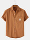 Mens Embroidered Cotton Breathable Casual Short Sleeve Shirts With Pocket - Orange